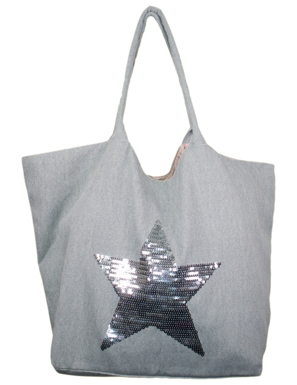 MITZY Sequin Star Canvas Bag