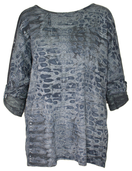 Snake Print Sequin Top