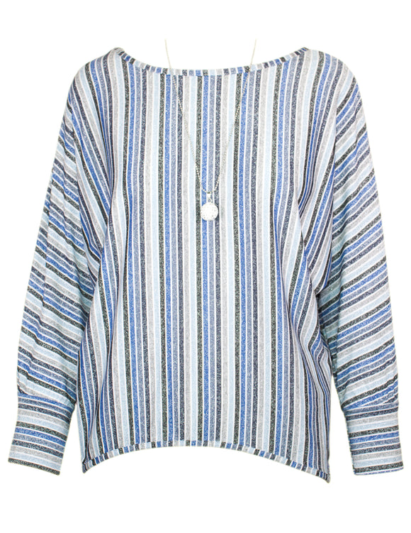 MITZY Stripe Metallic Batwing Top