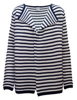 Stripe Cardigan In Ribbed Texture