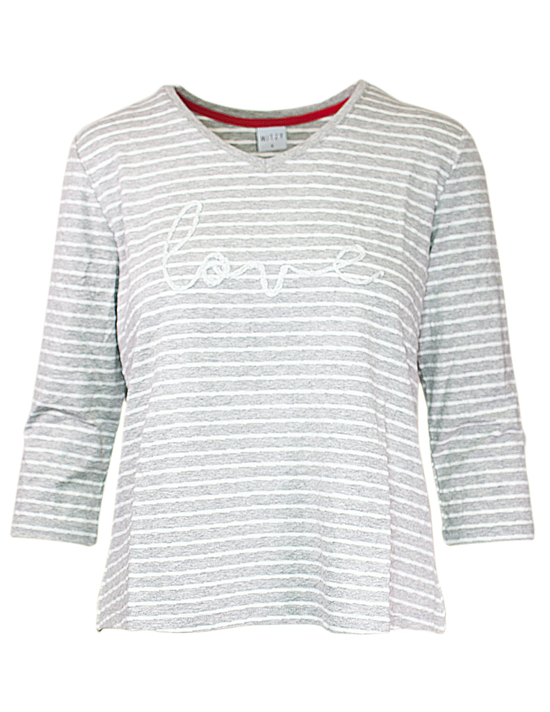 MITZY Embroidered 'Love' Stripe Top