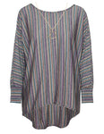 Metallic Striped Batwing Top