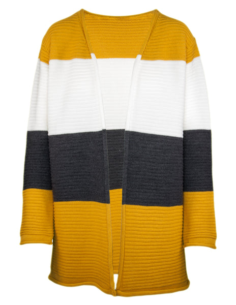 Long Sleeve Block Stripe Ribbed Cardigan