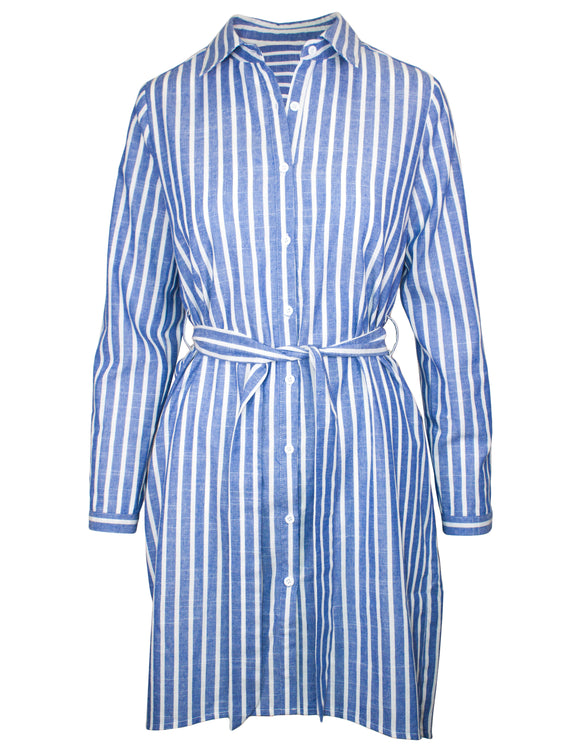 MITZY Stripe Tie Waist Shirt Dress