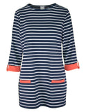 3/4 Sleeve Contrast Detail Stripe Tunic