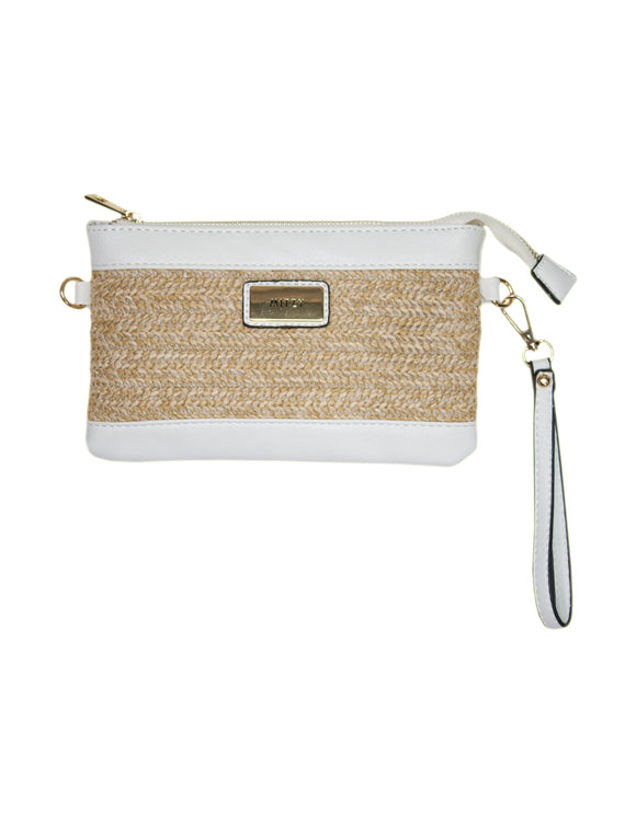 MITZY Straw Panel Clutch Bag