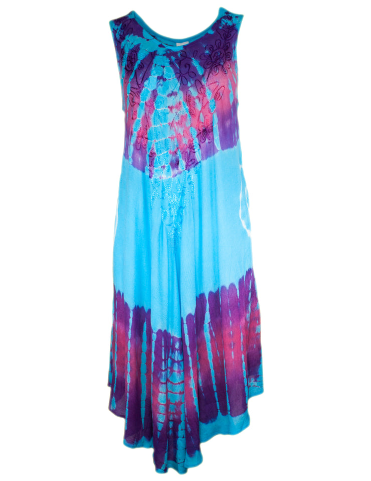 MITZY Sleeveless Tie Dye Embroidered Swing Dress