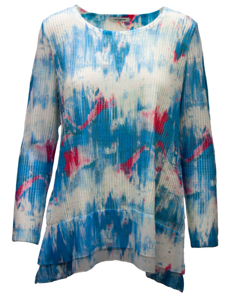 Top With Abstract Print Overlay