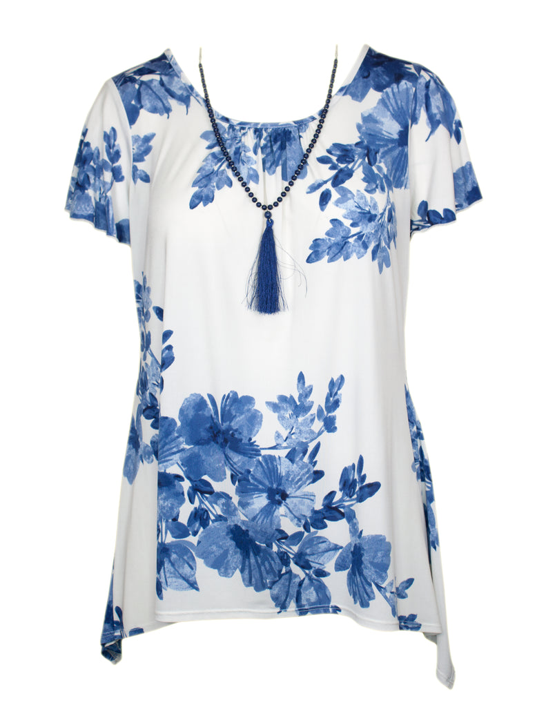 MITZY China Print Waterfall Top With Necklace