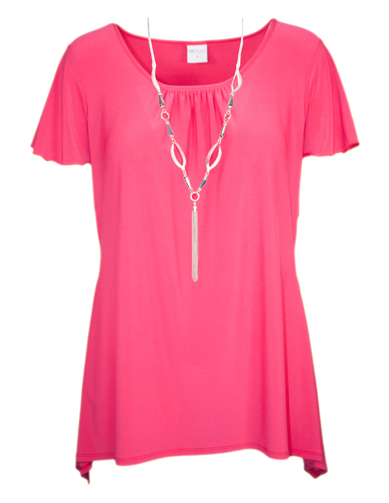MITZY Plain Waterfall Top With Necklace
