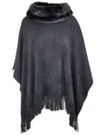 Faux Fur Collar Poncho