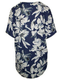MITZY Short Sleeve Floral Zip Front Top