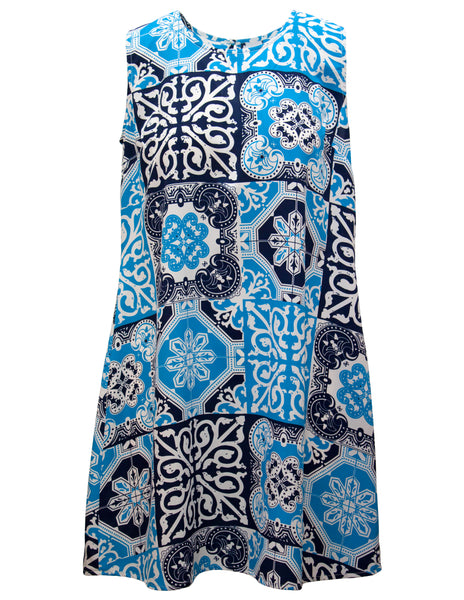 Sleeveless Shift Dress In Tile Print