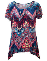 Top In Mosaic Floral Print With Necklace