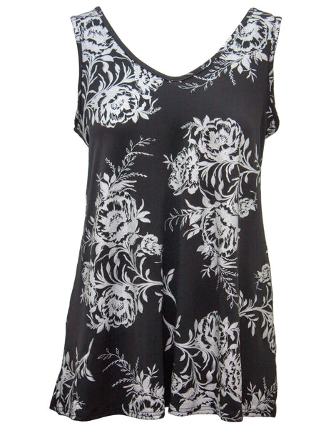 Swing Vest With Foil Rose Print