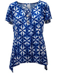 Batik Print Waterfall Top With Necklace