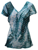 Reversible Top With Frill Sleeve In Tie Dye Print