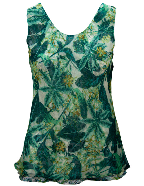 Reversible Vest In Leaf And Paisley Print