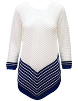 Jumper With Stripe Scoop Hem