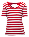 Stripe T-shirt With Bow Back Detail