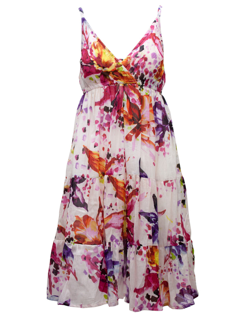 Strappy Bold Flower Midi Dress