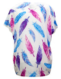 T-shirt In Bright Feather Print