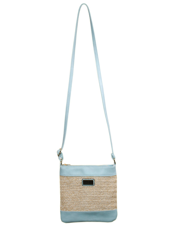 MITZY Straw Panel Across Body Bag