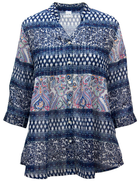 Chiffon Pintuck Blouse In Paisley Stripe
