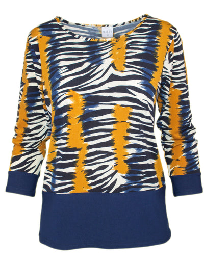 MITZY Contrast Detail Abstract Zebra Top