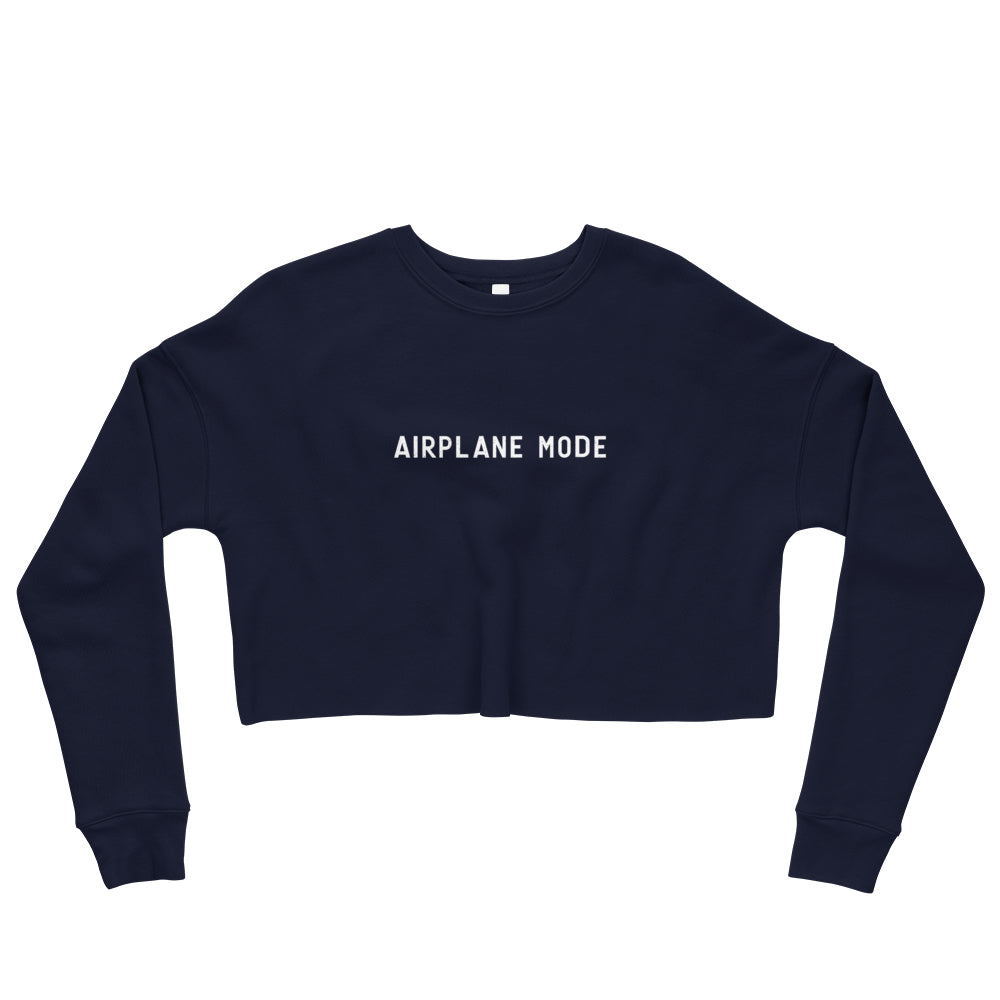 navy blue airplane mode crop sweatshirt