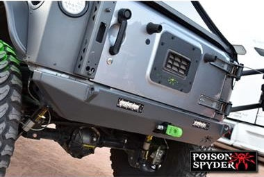 Poison Spyder BFH II Rear Bumper with 2 Inch Receiver Light Mounts and D-Ring Tabs - PSC17-17-040-DL