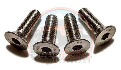 JK Wrangler Jeep Bolts - Jeep JK Wrangler Hood Hinge Bolt Set Rust Proof 4 Pc Stainless Set