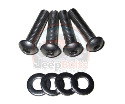 JK Wrangler Jeep Bolts - JK Jeep Wrangler Windshield Hinge 4 Rust Proof Stainless Steel Bolts Set - Long