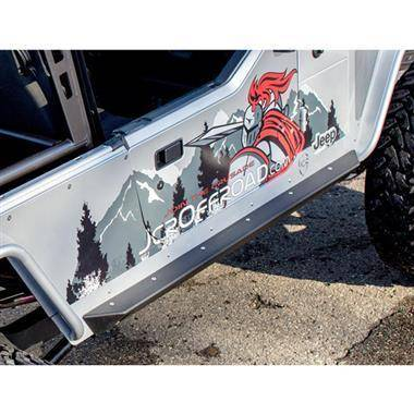 Rock Sliders Rocker Protection - JCROffroad Crusader Rock Sliders - Bare Steel W/ Mounting Hardware & Side Brace - JCRSWBSLCRTJ-B