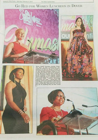 "Dell Scott Collection feature in State Capitol Daily Newspaper for participation in Southern Delaware ""Go Red for Women"" Event , March 2018"