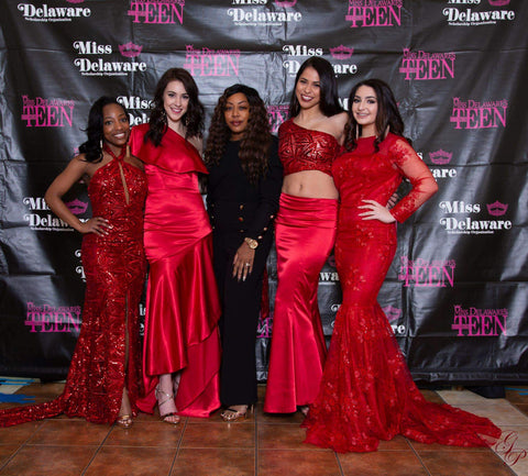 "Designer sponsor/showcase of the ""Siren Collection"" at the Miss Delaware Scholarship Pageant, May 2019"