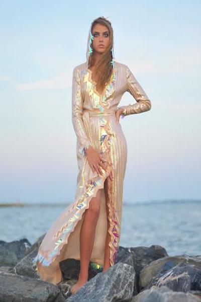 MIRAGE - Sequin Striped Belted Gown