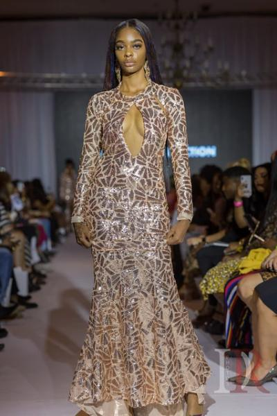MIRAGE-Netted Sequin Gown