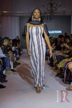 MIRAGE-Sequin Striped Caped Gown