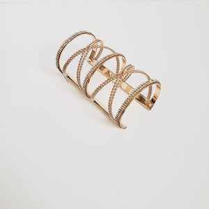 Rose Gold Stone Accent Twist Cuff
