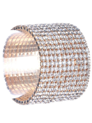 12 Row Rhinestone Stretch Bracelet-Gold