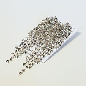 Silver Rhinestone Fringe Earrings -Clip