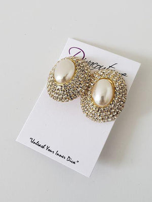 Pearl Rhinestone Accent Earrings-Clip
