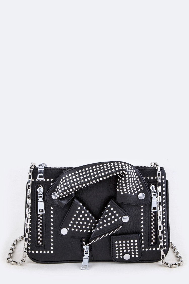 Black Studded Jacket Clutch