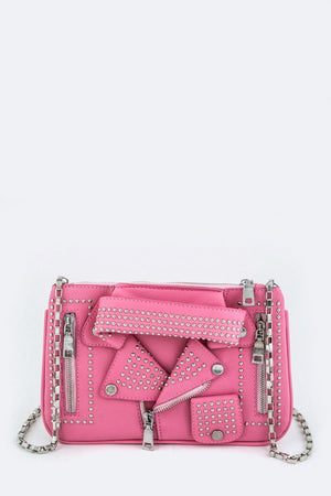 Pink Stud Jacket Clutch