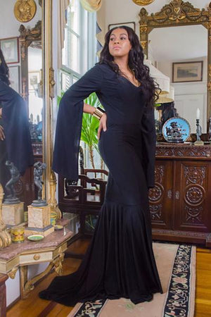 MIDNIGHT- Black Flared Slit Sleeve Dress