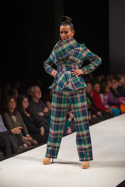 PLAIDITUDE - Green Plaid Collar Pantsuit