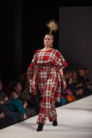 PLAIDITUDE - Red Plaid Poncho Jumpsuit