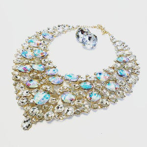 AB Crystal Bib Necklace Set