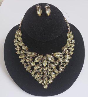 Olive Crystal Bib Necklace Set